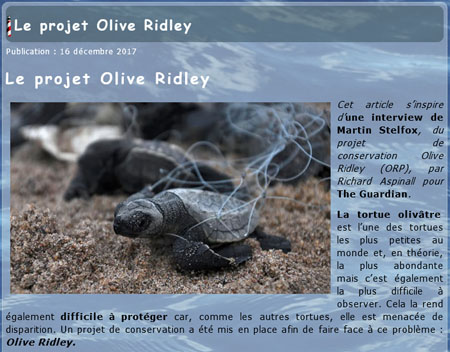 Le projet Olive Ridley
